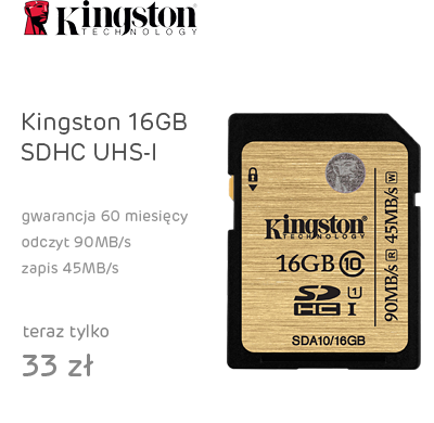 Kingston 16GB SDHC UHS-I Class10 zapis 45MB/s odczyt 90MB/s