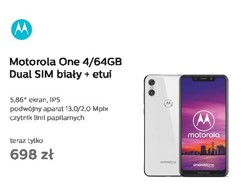 Motorola One 4/64GB Dual SIM biały + etui