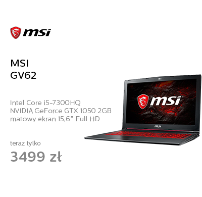 MSI GV62 i5-7300HQ/8GB/1TB GTX1050