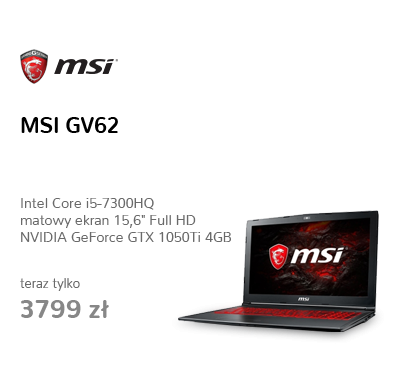 MSI GV62 i5-7300HQ/8GB/1TB GTX1050Ti