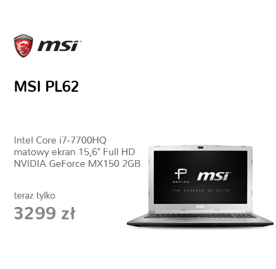 MSI PL62 i7-7700HQ/8GB/1TB MX150