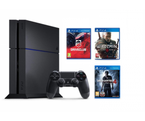 Sony Playstation 4 1TB Uncharted 4, DriveClub, Wiedźmin 3
