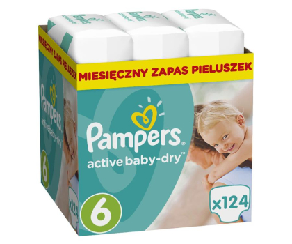Pampers Active Baby Dry 6 Extra Large 15kg+ 124szt-392538 - Zdjęcie 1