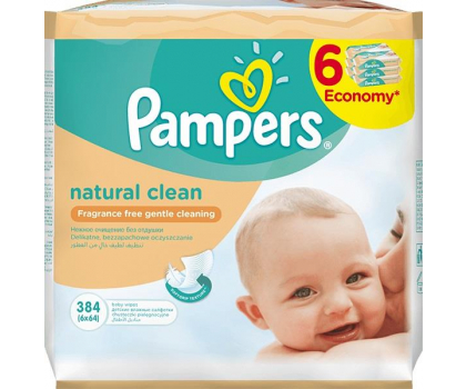 Pampers Chusteczki Nawilzane Natural Clean 6x 64szt-256797 - Zdjęcie 1