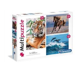 Puzzle powyżej 1500 elementów Clementoni Puzzle Animals 3x1000 el.