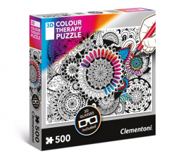 Puzzle do 500 elementów Clementoni Puzzle 3D Color Therapy Mandala