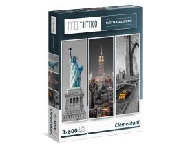 Puzzle 1000 - 1500 elementów Clementoni Puzzle Trittico New York 3x500 el.