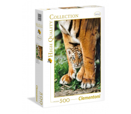 Puzzle do 500 elementów Clementoni Puzzle HQ Bengal Tiger Cub Between Its Mother'S Legs