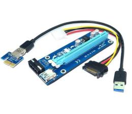 Akcesorium do obudowy Qoltec Riser PCi-E 1x-16x USB 3.0 SATA/ IDE Molex