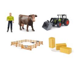 Pojazd / tor i garaż Bruder Zestaw Claas Nectis 267F z krową i rolnikiem