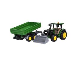 Pojazd / tor i garaż Bruder Traktor John Deere 5115M z ładowaczem i przyczepą