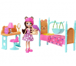 Lalka i akcesoria Mattel Enchantimals Łóżeczko z lalką Bren Bear