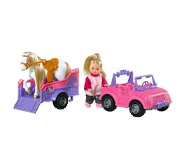 Lalka i akcesoria Simba Evi w jeepie z koniem na przyczepce