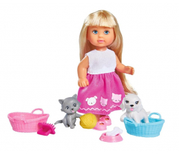 Lalka i akcesoria Simba Evi z pieskiem i kotkiem