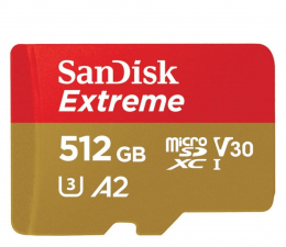 Karta pamięci microSD SanDisk 512GB Extreme microSDXC 160/90MB/s A2 C10 V30