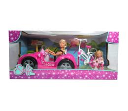 Lalka i akcesoria Simba Steffi w kabriolecie i Evi na rowerze