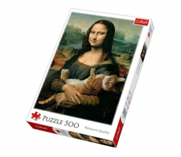 Puzzle 500 - 1000 elementów Trefl 500 el Mona Lisa i kot Mruczek
