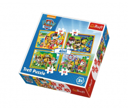 Puzzle dla dzieci Trefl 4w1 Psi Patrol Zawsze na czas