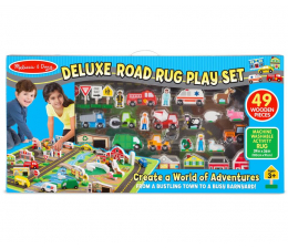 Zabawka drewniana Melissa & Doug Deluxe Road Rug Play Set mata 49 el