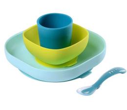 Miska / talerzyk dla dzieci Beaba Komplet naczyń z silikonu z przyssawką blue
