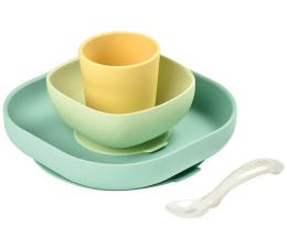 Miska / talerzyk dla dzieci Beaba Komplet naczyń z silikonu z przyssawką yellow