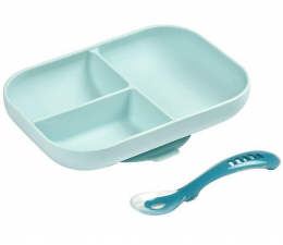 Miska / talerzyk dla dzieci Beaba Komplet naczyń z silikonu talerz z przyssawką +łyżeczka Blue