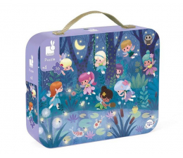 Puzzle dla dzieci Janod Puzzle w walizce Wróżki i lilie wodne 36 elementów 4+