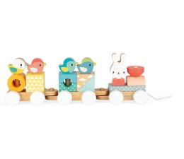 Zabawka edukacyjna Janod Pociąg z klockami do ciągnięcia Pure