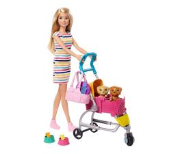 Lalka i akcesoria Barbie Spacerówka z pieskami + Lalka Zestaw