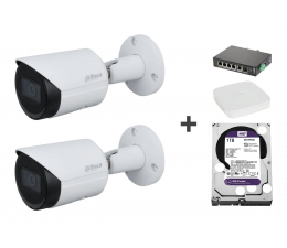 Kamera IP Dahua Zestaw do monitoringu (2x 4MP, NVR, 2TB, switch)