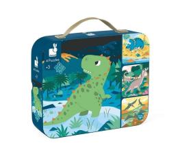 Puzzle dla dzieci Janod Puzzle progresywne w walizce Dinozaury 4 układanki – 6, 9, 1