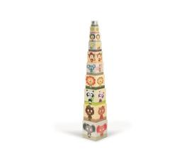 Zabawka edukacyjna Janod Piramida wieża 10 kostek Zwierzęta