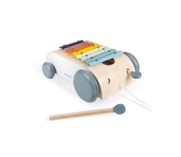 Zabawka muzyczna Janod Wózek drewniany cymbałki do ciągnięcia 8 tonów Sweet Cocoon