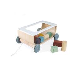 Zabawka edukacyjna Janod Wózek do ciągnięcia drewniany z 17 klockami Sweet Cocoon