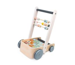 Zabawka edukacyjna Janod Wózek pchacz drewniany z 20 klockami Sweet Cocoon