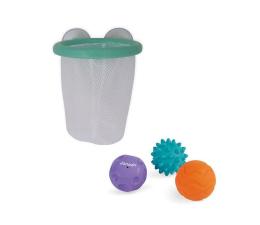 Zabawka do kąpieli Janod Gra w koszykówkę do kąpieli kosz z przyssawkami z 3 piłkami