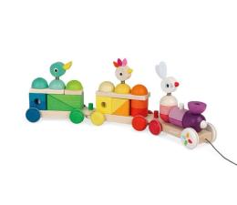 Zabawka edukacyjna Janod Pociąg z klockami i zwierzątkami do ciągnięcia