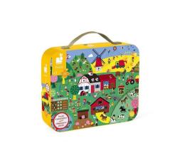 Puzzle dla dzieci Janod Puzzle obserwacyjne w walizce Farma 24 elementy 3+