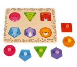 Zabawka drewniana Janod Układanka drewniana Uczę się  kształtów Zwierzęta z dżungli