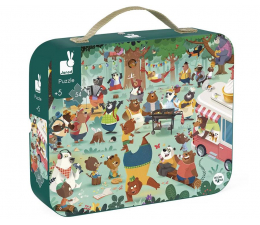 Puzzle dla dzieci Janod Puzzle w walizce Rodzina misiów 54  elementy 5+