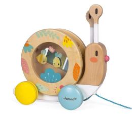 Zabawka drewniana Janod Drewniany ślimak do ciągnięcia z  cymbałkami i bębenkiem Pur
