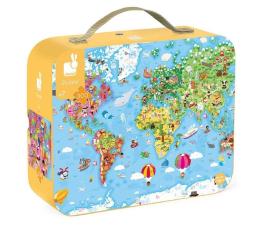Puzzle do 500 elementów Janod Puzzle w walizce Ogromna mapa  świata 300 elementów 7+