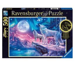 Puzzle 500 - 1000 elementów Ravensburger Świecące w ciemności: Wilk w zorzy polarnej 500 el.