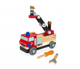 Zabawka drewniana Janod Drewniany wóz strażacki do składania z narzędziami