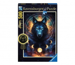 Puzzle 500 - 1000 elementów Ravensburger Świecące w ciemności: Wilk i księżyce 500 el.