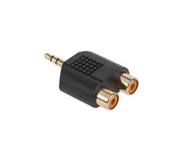 Adapter CABLETECH Złącze JACK 3.5-2xGN.RCA złote