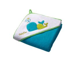 BabyOno Okrycie Kąpielowe Ręcznik +Kapturek 100x100 Turkus (5901435405031 Welur)