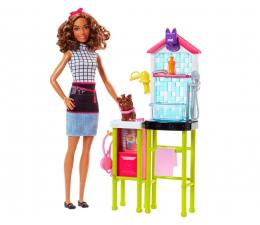 Barbie Psi Fryzjer brunetka Zestaw z pieskiem (DHB63 FJB31 )