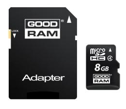 GOODRAM 8GB microSDHC zapis 5MB/s odczyt 15MB/s  (SDU8GHCAGRR10 / M40A-0080R11)