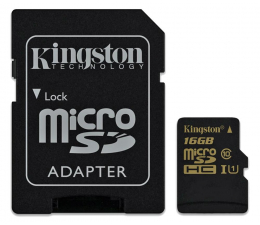 Kingston 16GB microSDHC Class10 zapis 45MB/s odczyt 90MB/s (SDCA10/16GB)